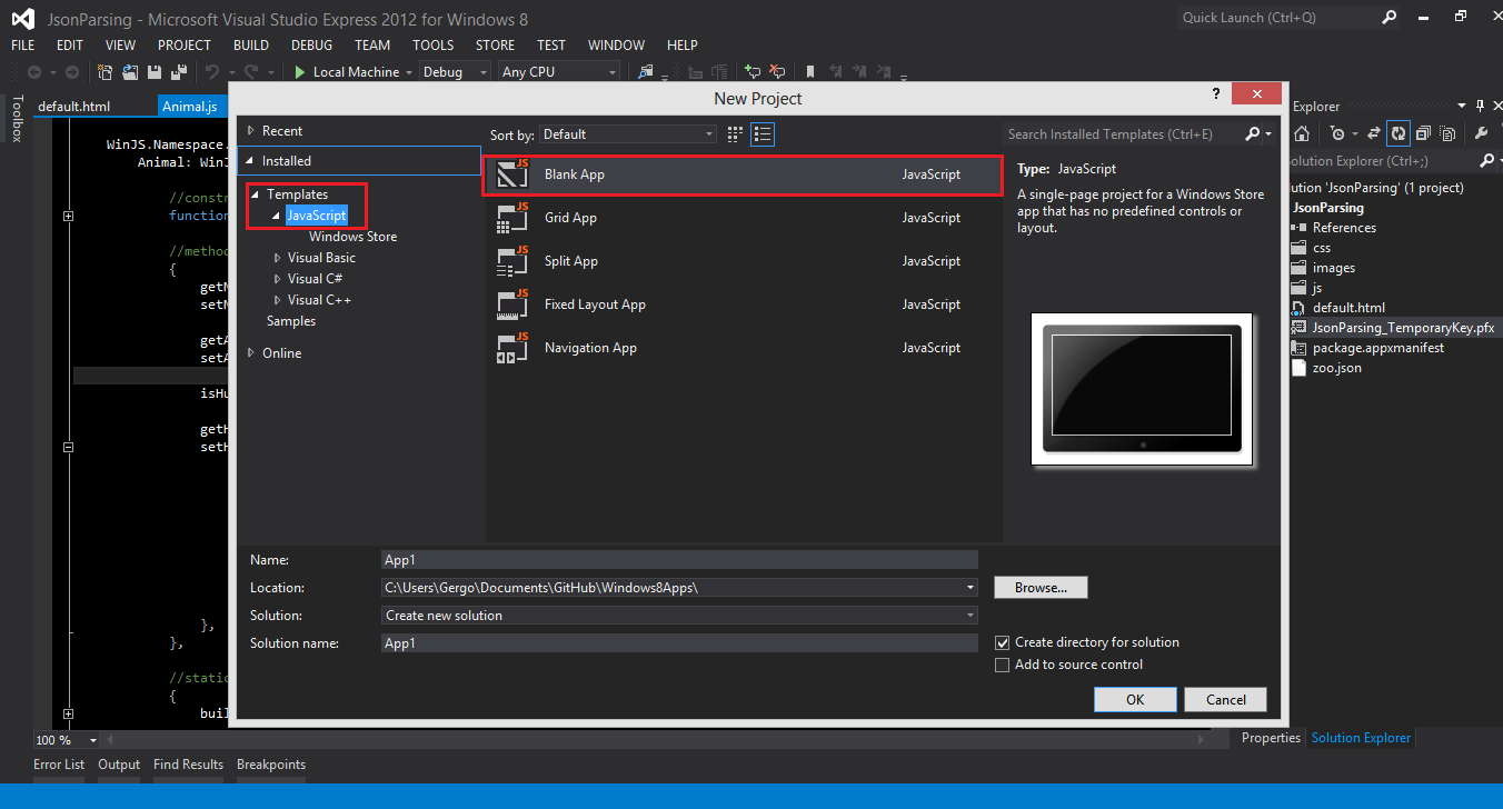 Windows 8 Apps - Create objects from a JSON file - Image 1