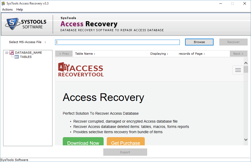 MS Access Database Repair Tool to Fix MDB/ACCDB File Corruption - Image 1